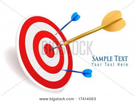 Gold dart hitting a target. Success concept. Vector illustration