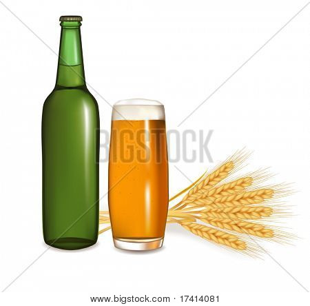 Bottle with glass of beer and some ears of wheat. Vector illustration.