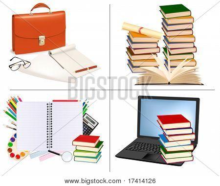 Sistema grande de la educación y los fondos de la oficina. Ilustración del vector.