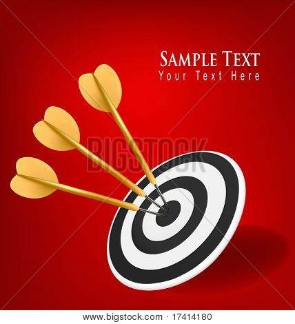 Gold darts hitting a target. Success concept. Vector illustration