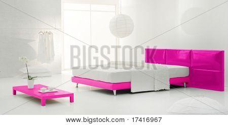 pink minimal bedroom