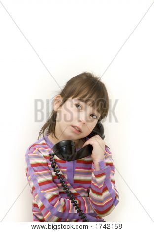 Little Girl On The Antique Phone
