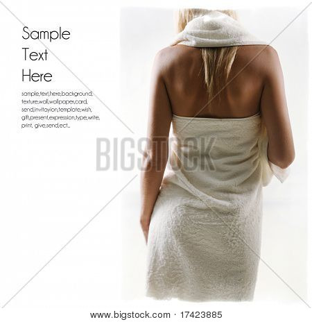 woman in towel background