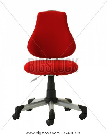 red rolling office chair isolated