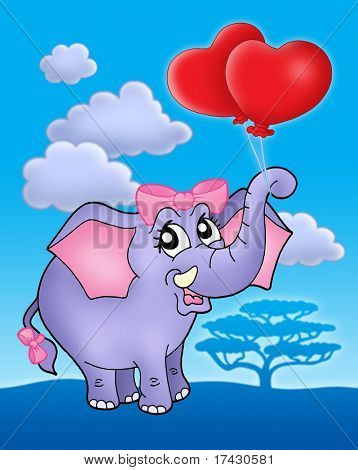 Color illustration of elephant girl with heart balloons on blue sky.