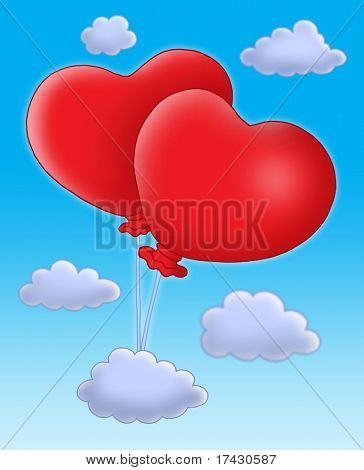 Color illustration of two ballons-hearts on blue sky.