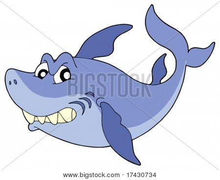 Cute smiling shark on white background - vector illustration.