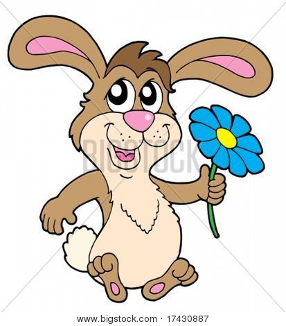 Small rabbit with flower - vector illustration.