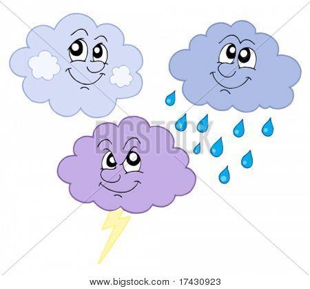 Verschiedene süße Wolken - Vektor-Illustration.