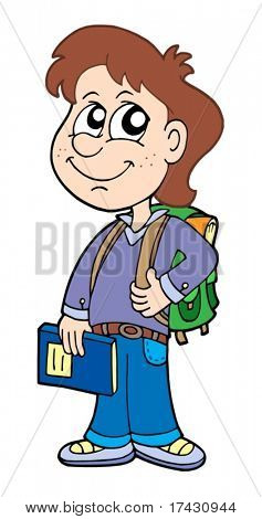 Pupil boy with school bag - vector illustration.