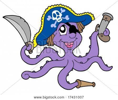 Polvo pirata com sabre - ilustração vetorial.