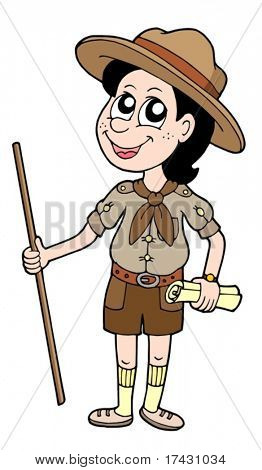 Boy scout with walking stick - vector illustration.
