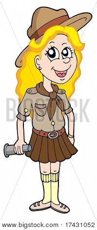 Girl scout on white background - vector illustration.