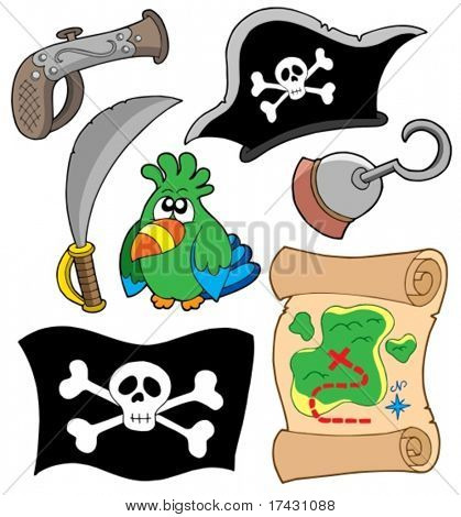 Pirate equipment collection - vector illustration.