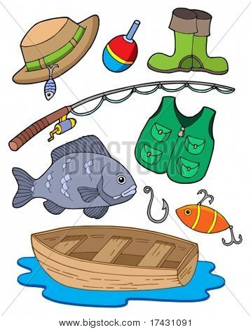 Fishing equipment on white background - vector illustration.