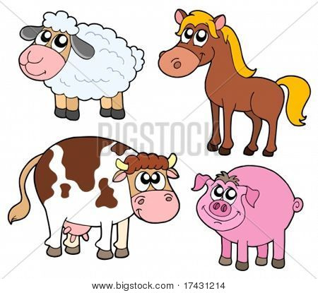 Farm animals collection - vector illustration.