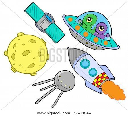 Space collection on white background - vector illustration.