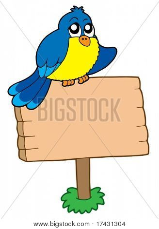 Wooden sign with sitting bird - vector illustration.