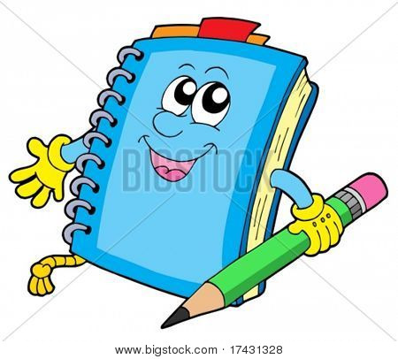 Cute notepad on white background - vector illustration.