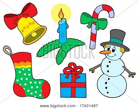 Christmas collection 3 on white background - vector illustration.