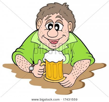 Beer drinker on white background - vector illustration.