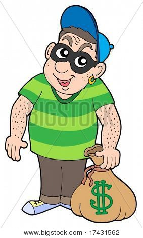 Cute bank thief - vector illustration.