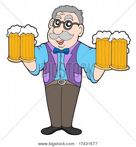 Innkeeper with beers - vector illustration.