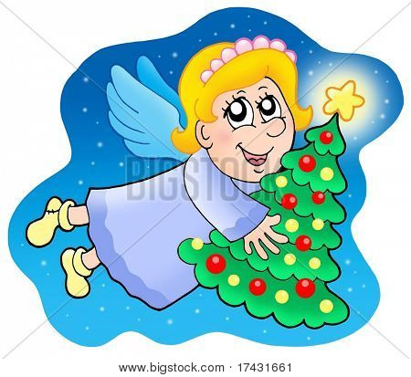Angel holding Christmas tree - color illustration.