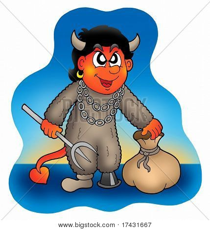 Devil with sack - color illustration.