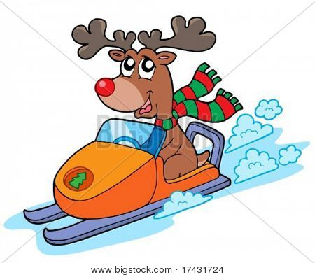 Christmas reindeer riding scooter - vector illustration.