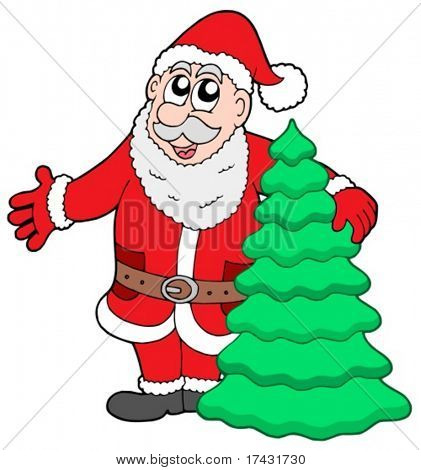 Santa Clause with three - vector illustration.