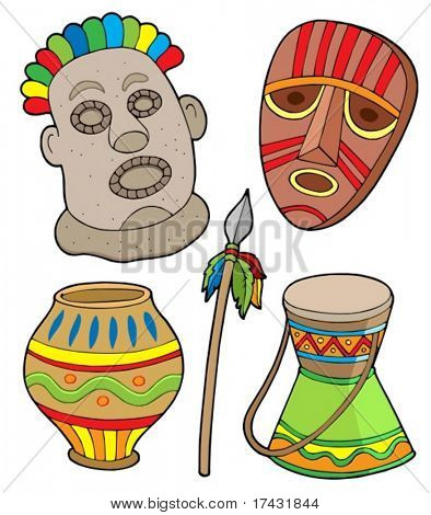 African tribal collection - vector illustration.