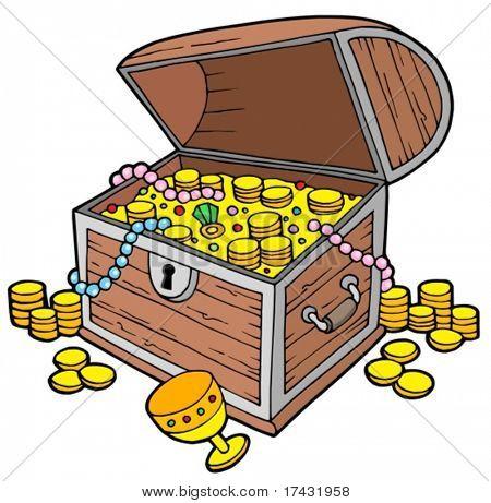 Open treasure chest - vector illustration.
