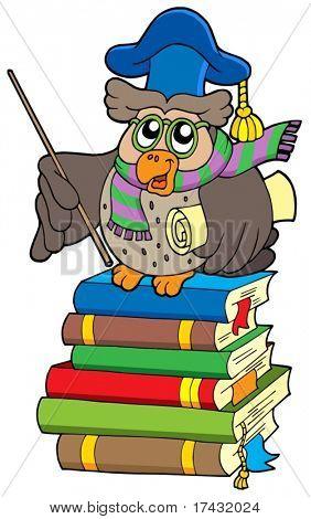 Eule-Lehrer mit Pergament auf Bücher - Vektor-Illustration.
