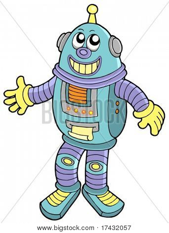 Smiling robot on white background - vector illustration.