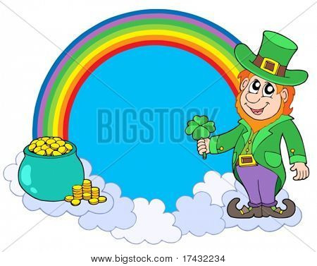 Rainbow circle with leprechaun - vector illustration.