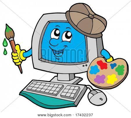 Cartoon computer artist - vector illustration