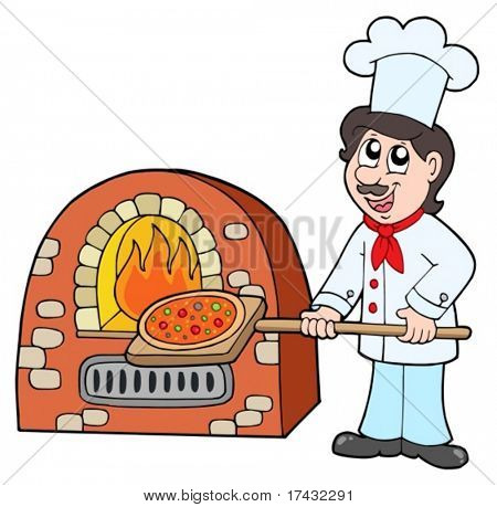 Chef baking pizza - vector illustration.