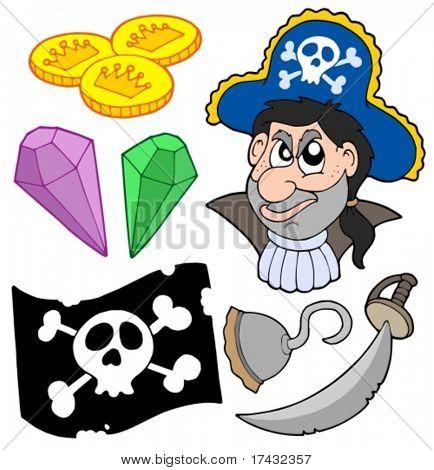 Coleção pirata 5 sobre fundo branco - ilustração vetorial.