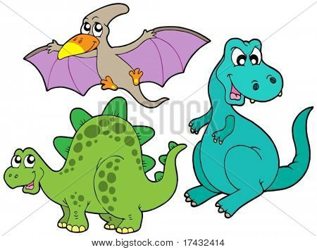 Dinosaur collection on white background - vector illustration.