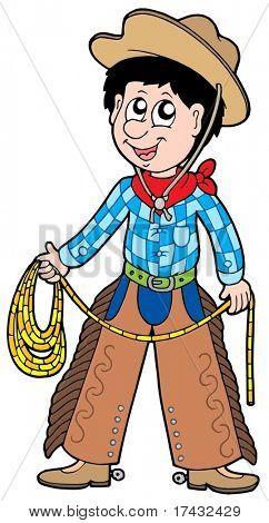 Cowboy de desenhos animados com laço - ilustração vetorial.