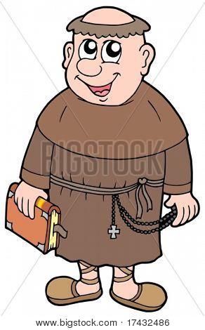 Cartoon monk on white background - vector illustration.