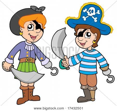 Pirate boy and girl - vector illustration.