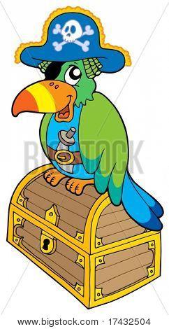 Papagaio de pirata sentado no peito - ilustração vetorial.