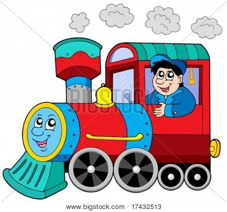 Steam locomotive with engine driver - vector illustration.