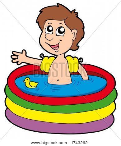 Niño en la piscina inflable - ilustración vectorial.