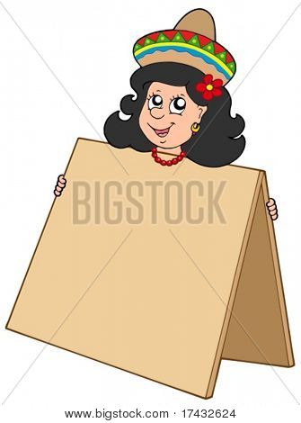 Cute Mexican girl with table - vector illustration.