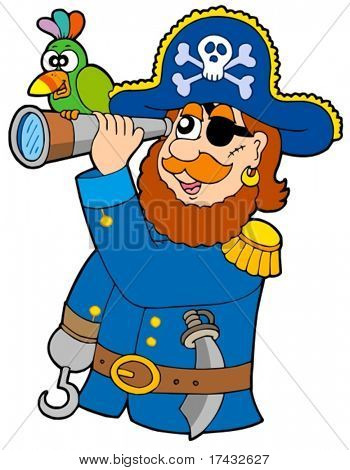 Pirate with spyglass and parrot - vector illustration.