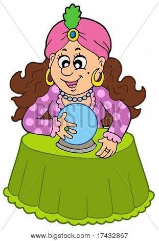Fortune teller with crystal ball - vector illustration.