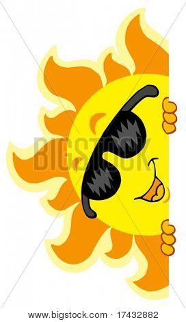 Al acecho del sol con gafas de sol - ilustración vectorial.